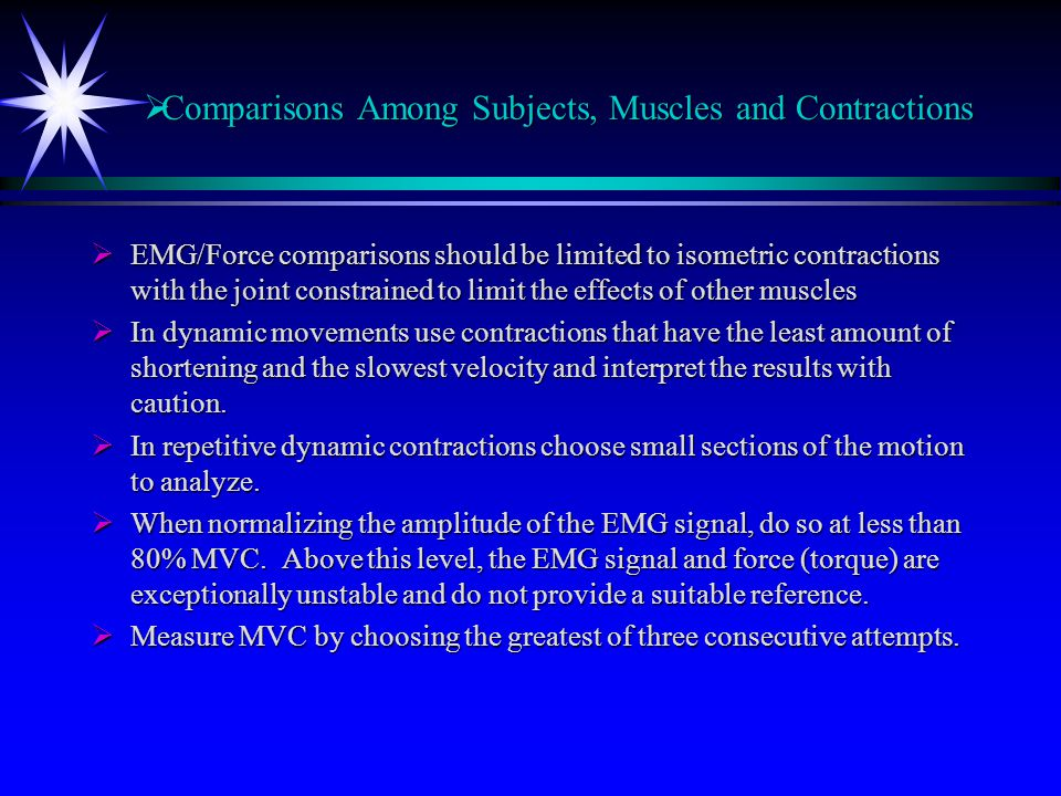 Comparisons Among Subjects, Muscles and Contractions