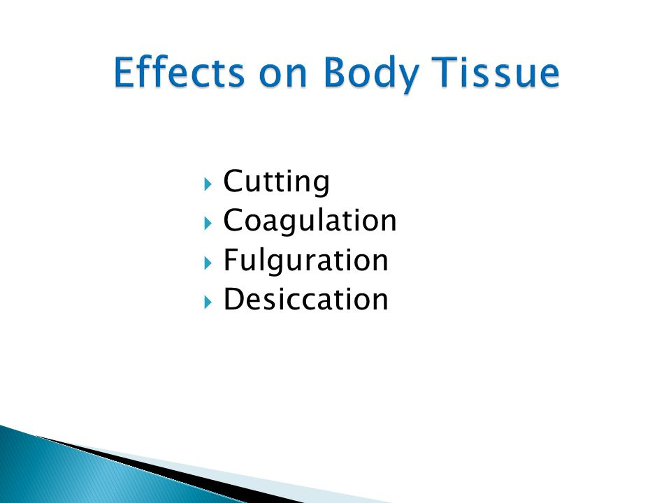 Effects on Body Tissue Cutting Coagulation Fulguration Desiccation 21