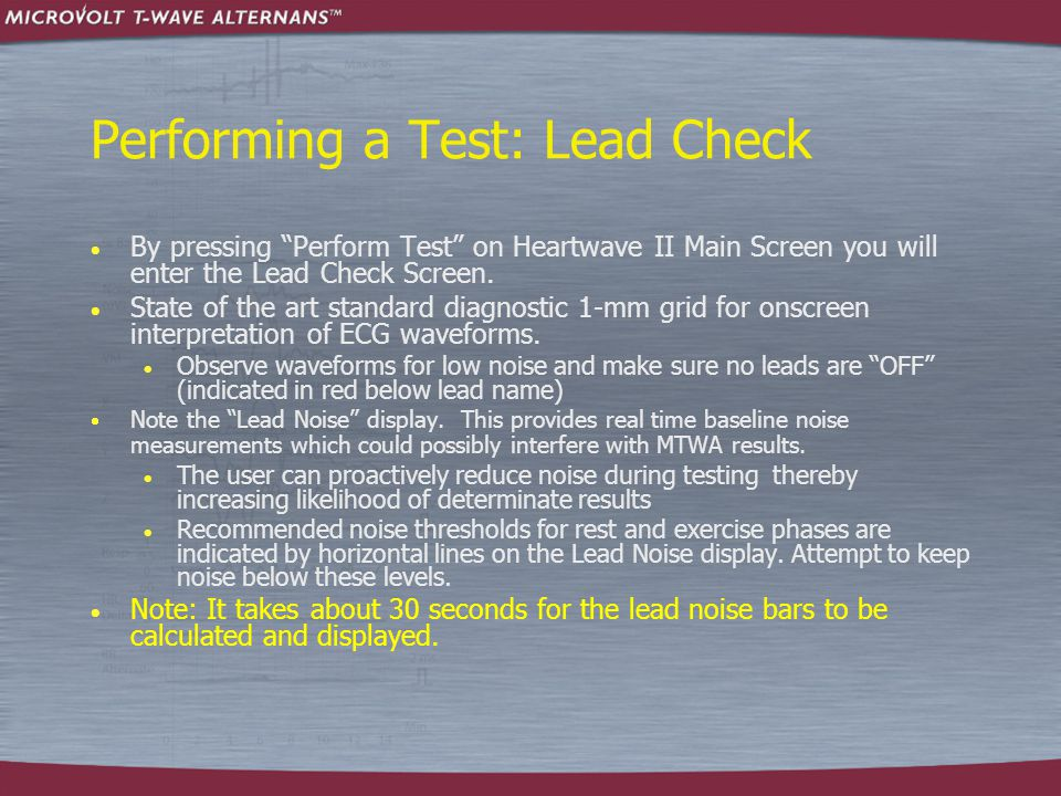 Performing a Test: Lead Check