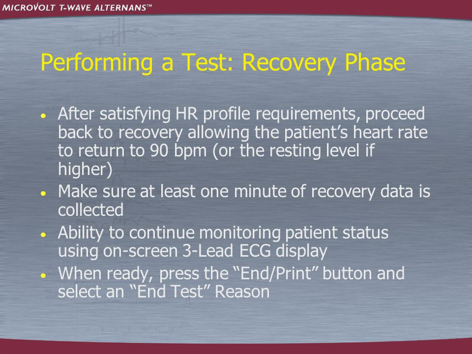 Performing a Test: Recovery Phase