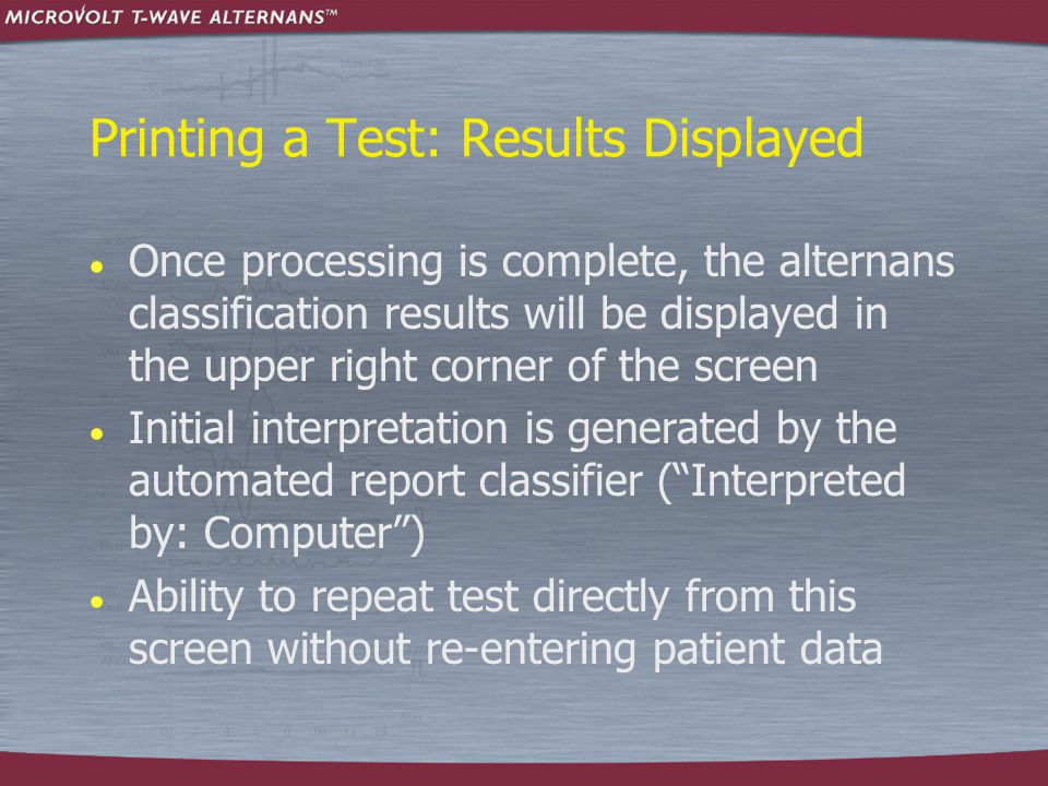 Printing a Test: Results Displayed