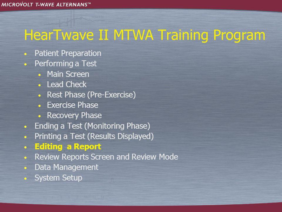 HearTwave II MTWA Training Program