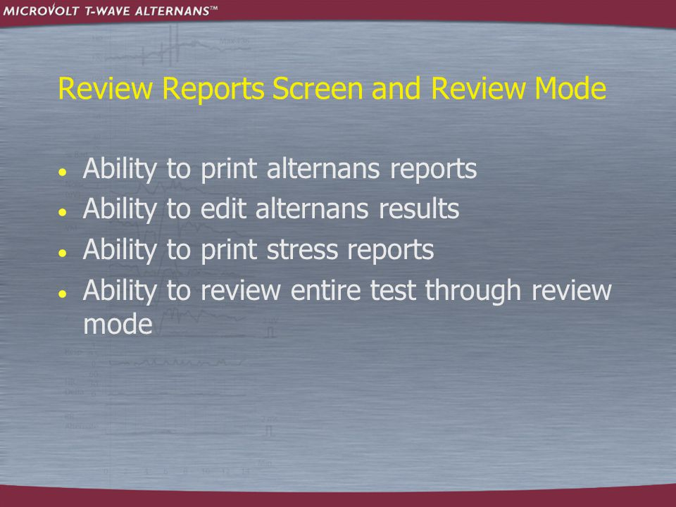 Review Reports Screen and Review Mode