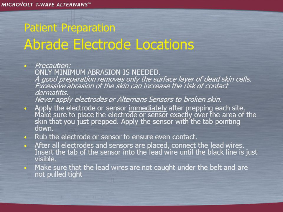 Patient Preparation Abrade Electrode Locations