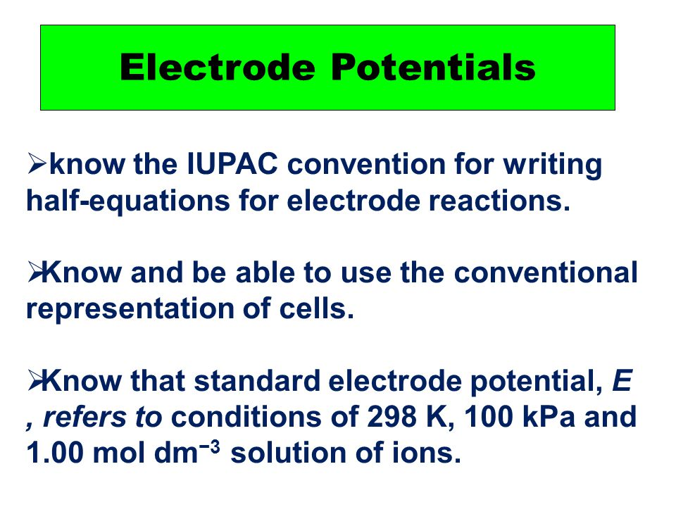 PPT - Electrode potentials