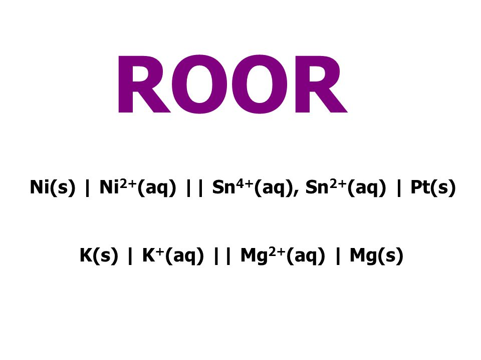 ROOR Ni(s) | Ni2+(aq) || Sn4+(aq), Sn2+(aq) | Pt(s)