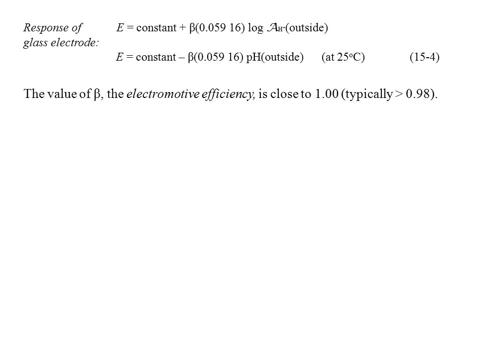 Response of E = constant + β(0.059 16) log AH+(outside)