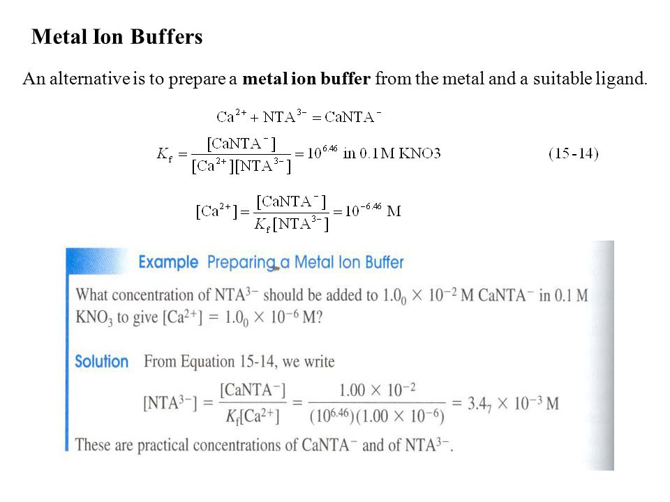 Metal Ion Buffers An alternative is to prepare a metal ion buffer from the metal and a suitable ligand.