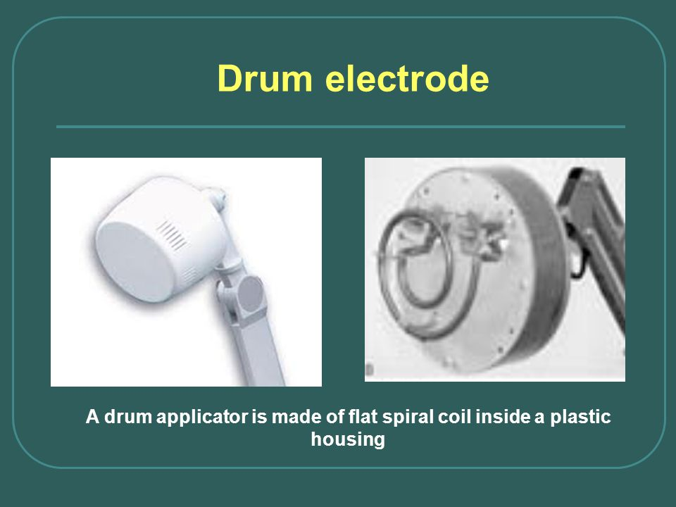 A drum applicator is made of flat spiral coil inside a plastic housing