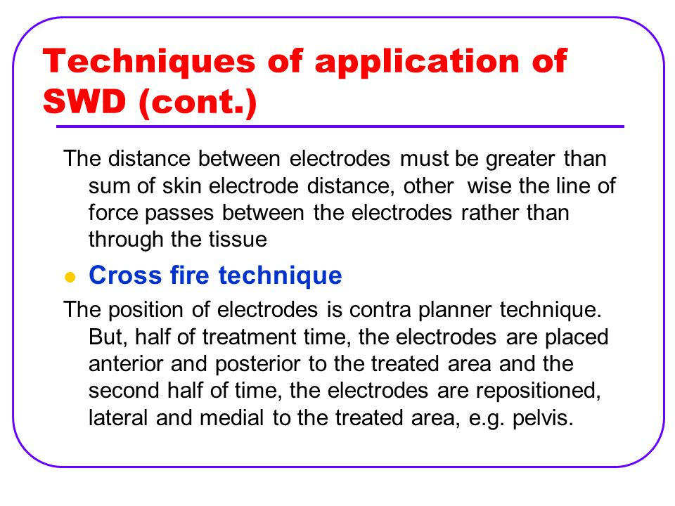 Techniques of application of SWD (cont.)