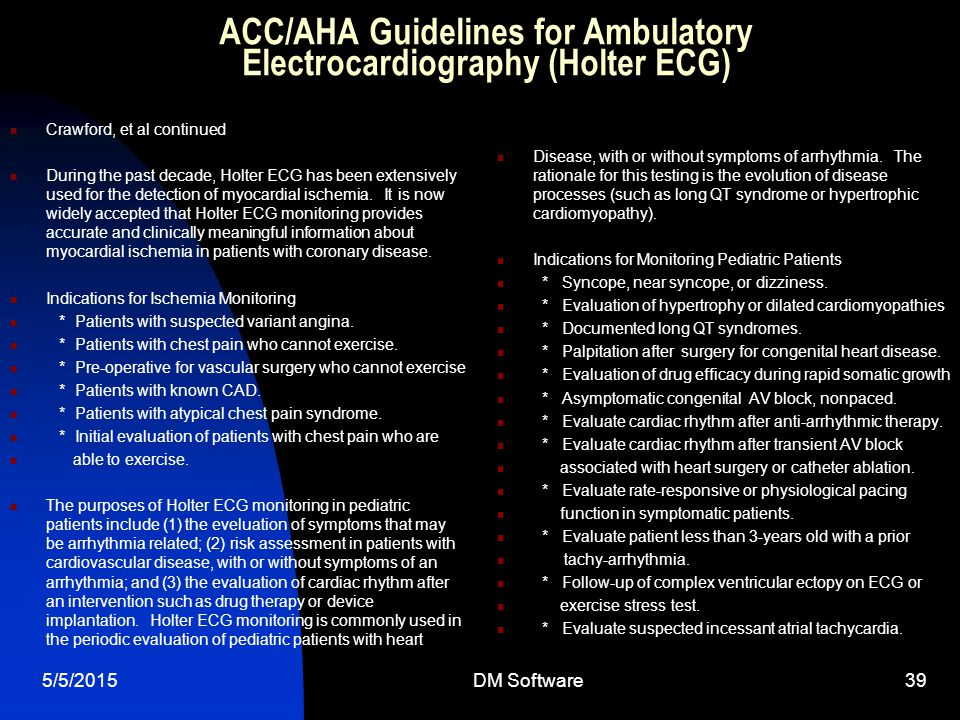 ACC/AHA Guidelines for Ambulatory Electrocardiography (Holter ECG)