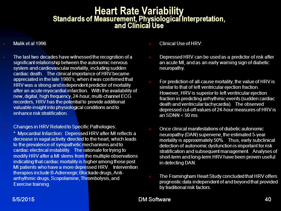 Heart Rate Variability Standards of Measurement, Physiological Interpretation, and Clinical Use