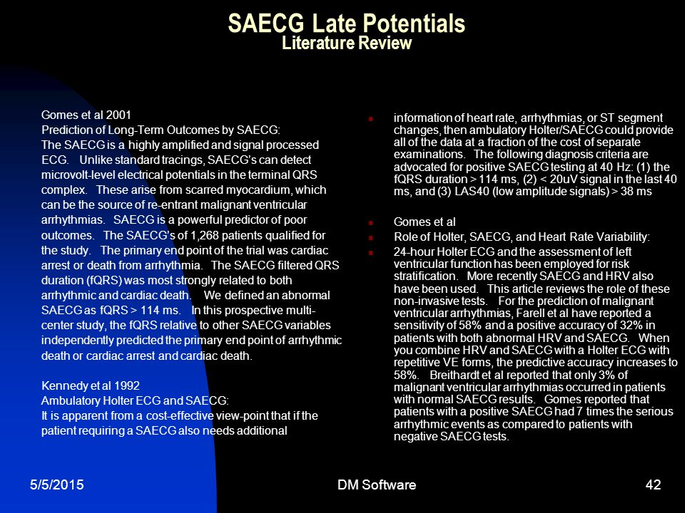 SAECG Late Potentials Literature Review