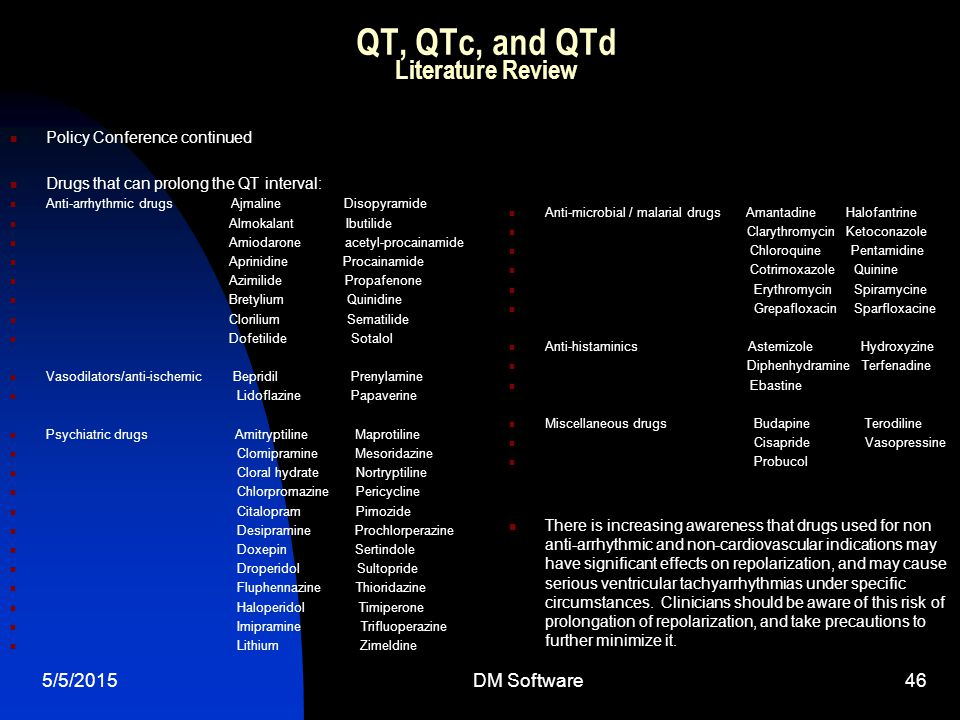 QT, QTc, and QTd Literature Review