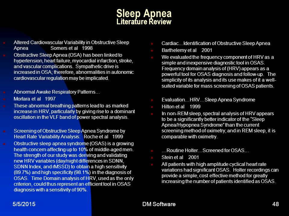 Sleep Apnea Literature Review