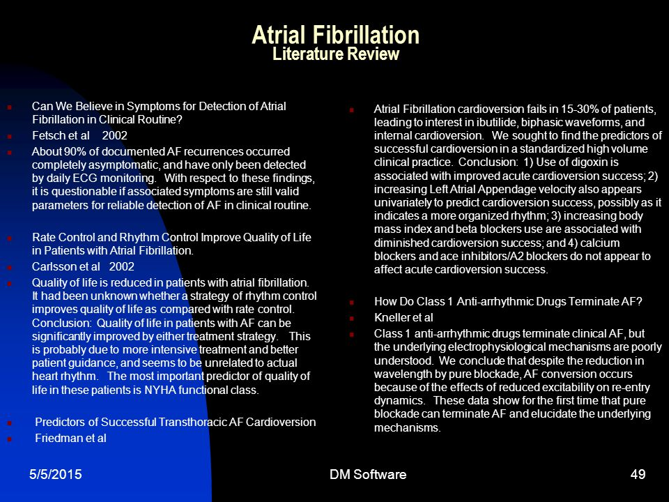 Atrial Fibrillation Literature Review