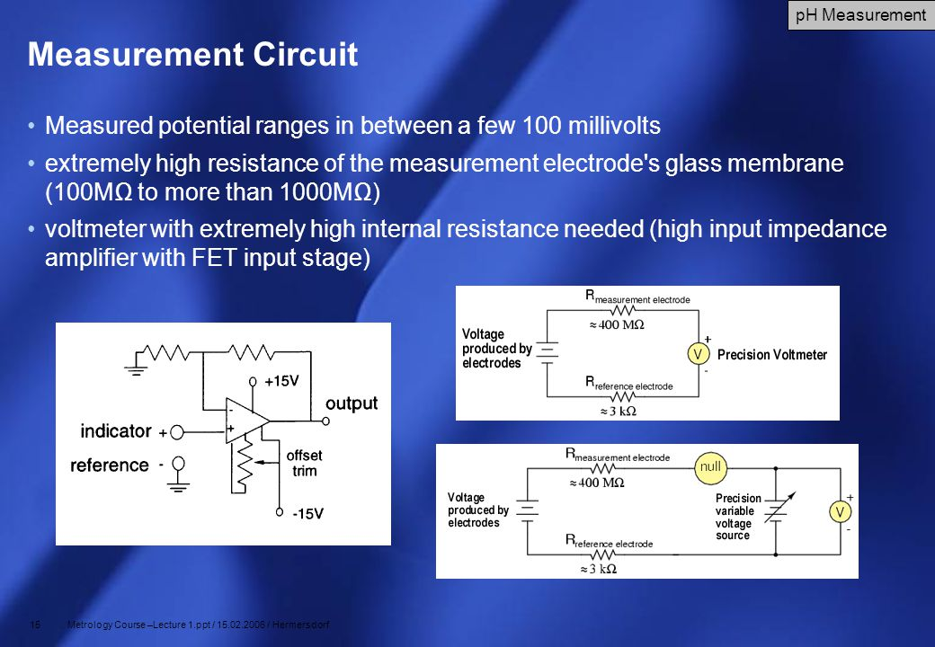 Measurement Circuit pH Measurement. Measured potential ranges in between a few 100 millivolts.