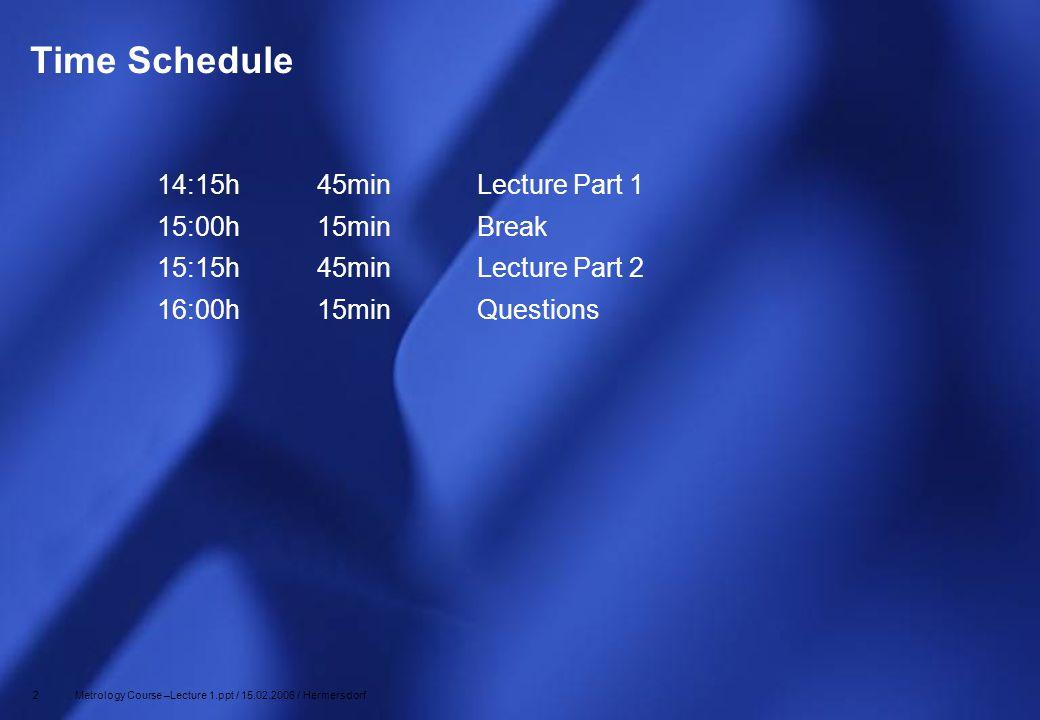 Time Schedule 14:15h 45min Lecture Part 1 15:00h 15min Break
