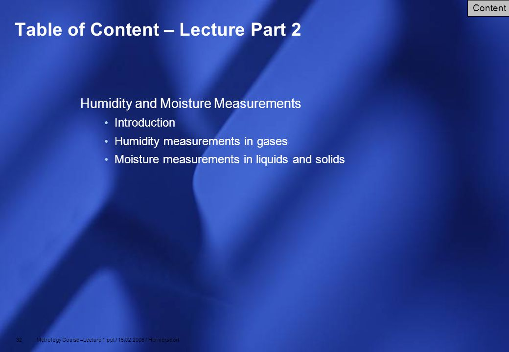 Table of Content – Lecture Part 2