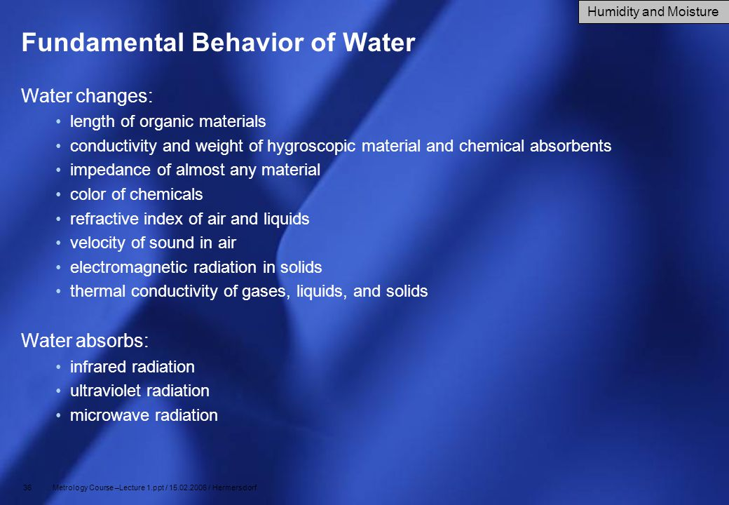 Fundamental Behavior of Water