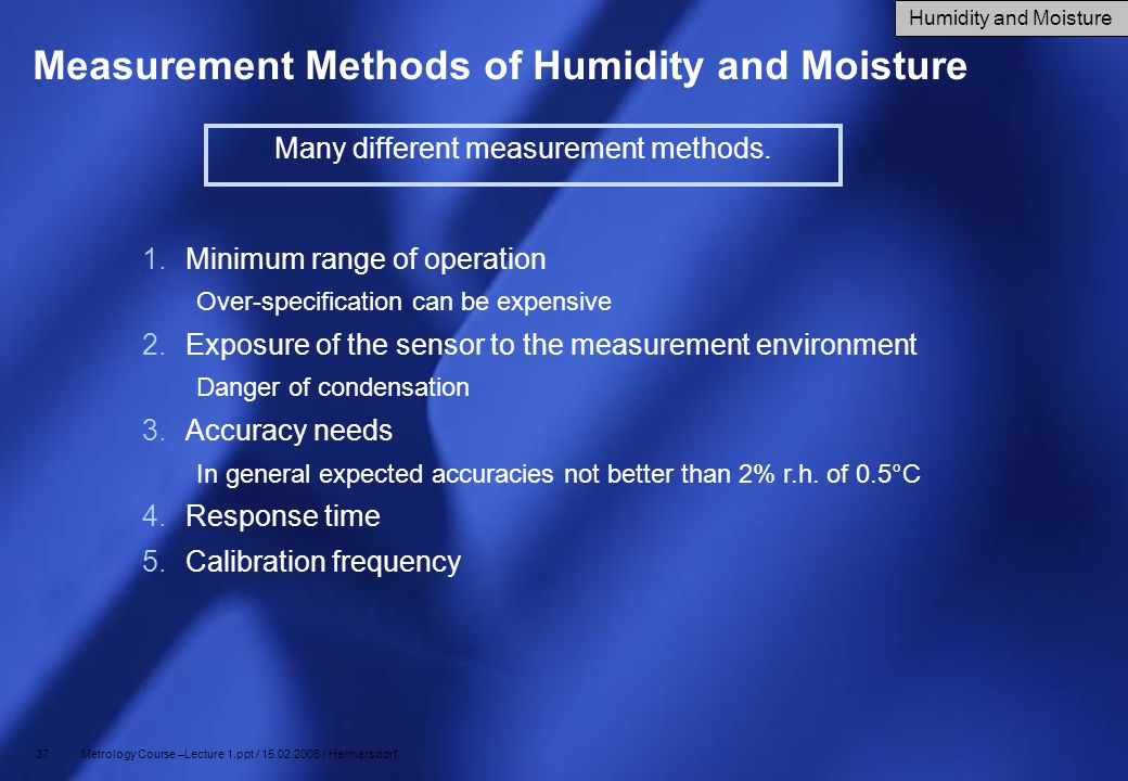 Measurement Methods of Humidity and Moisture