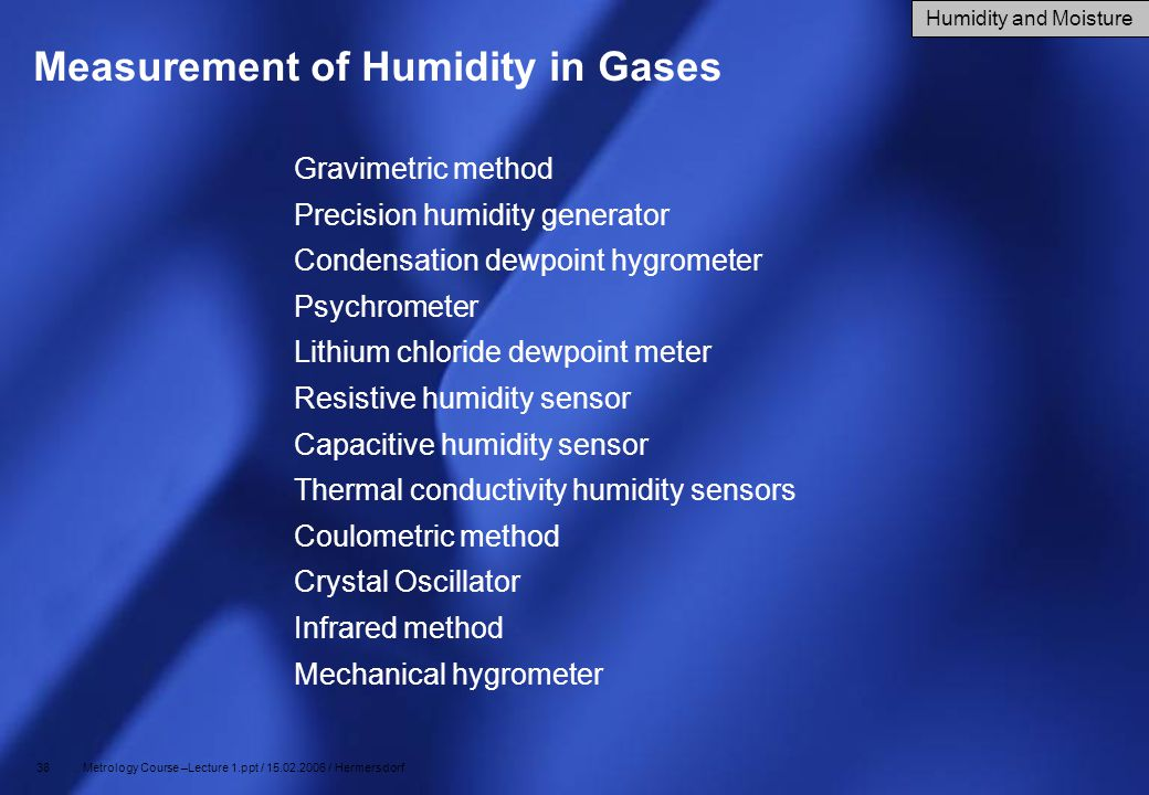 Measurement of Humidity in Gases