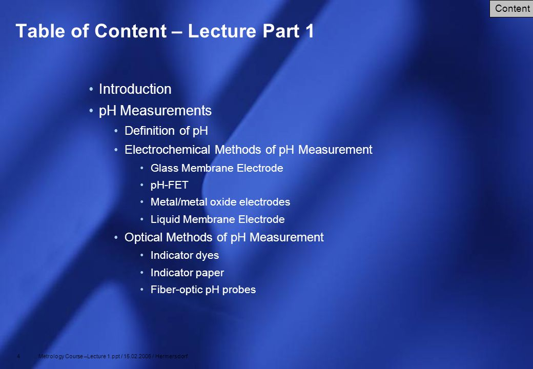 Table of Content – Lecture Part 1
