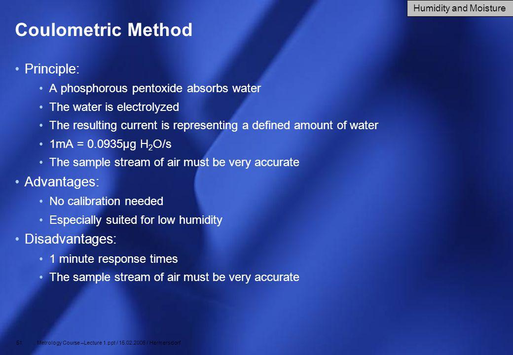 Coulometric Method Principle: Advantages: Disadvantages: