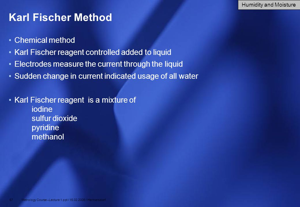 Karl Fischer Method Chemical method