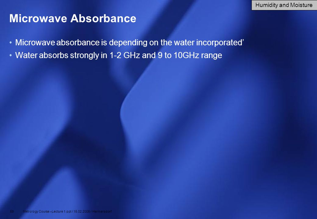 Microwave Absorbance Humidity and Moisture. Microwave absorbance is depending on the water incorporated'