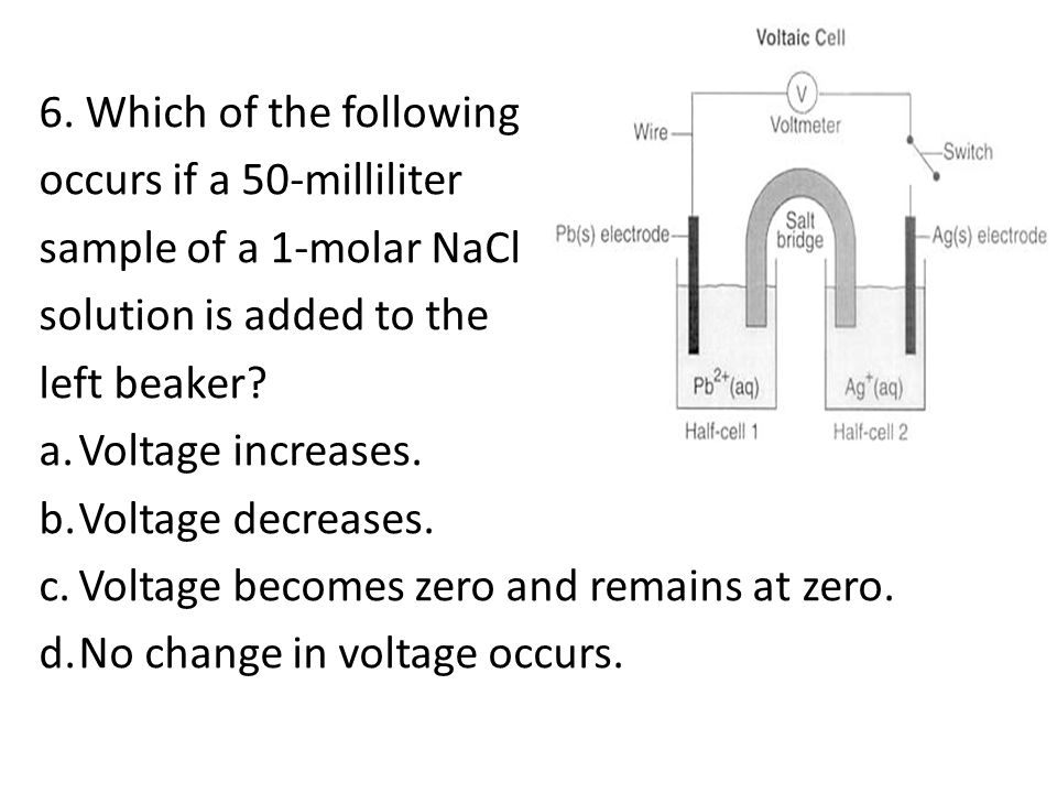 6. Which of the following occurs if a 50-milliliter. sample of a 1-molar NaCl. solution is added to the.