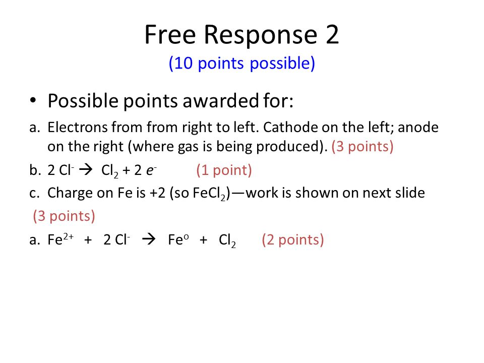 Free Response 2 (10 points possible)
