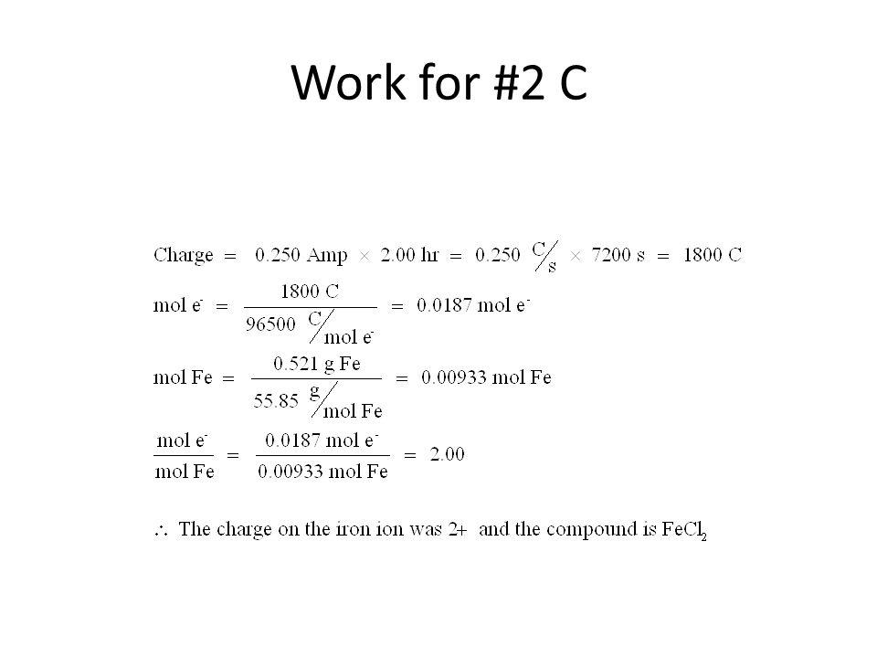 Work for #2 C
