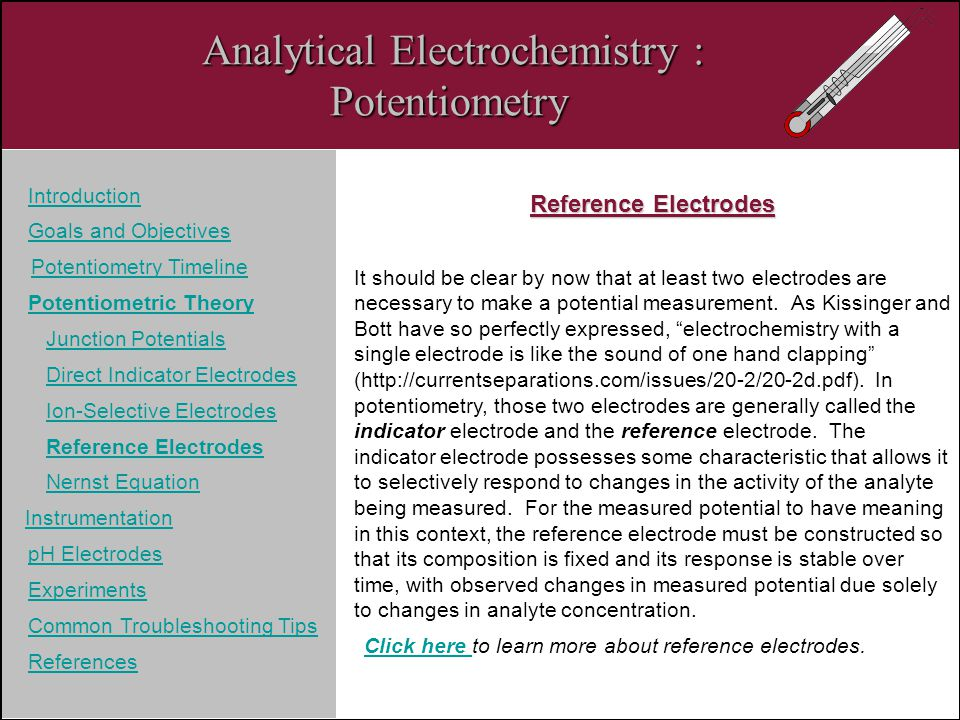 Analytical Electrochemistry : Potentiometry