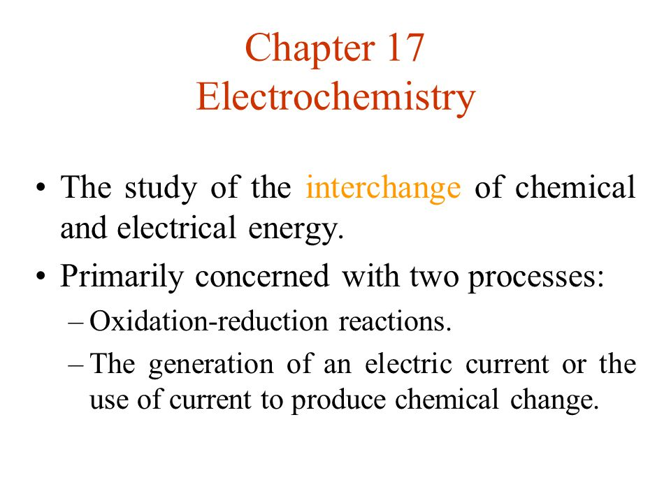 Chapter 17 Electrochemistry