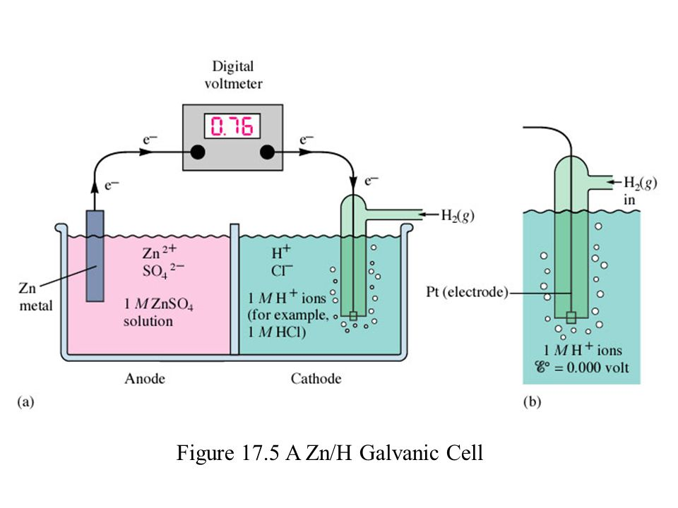 Figure 17.5 A Zn/H Galvanic Cell