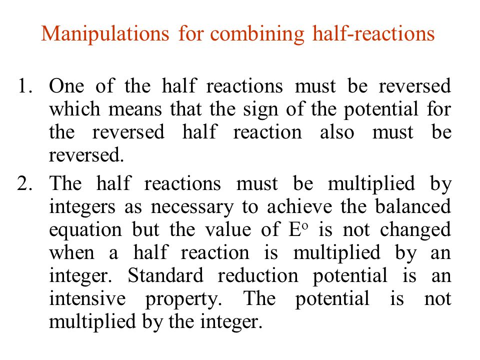 Manipulations for combining half-reactions