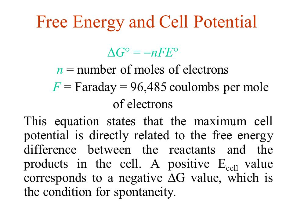 Free Energy and Cell Potential