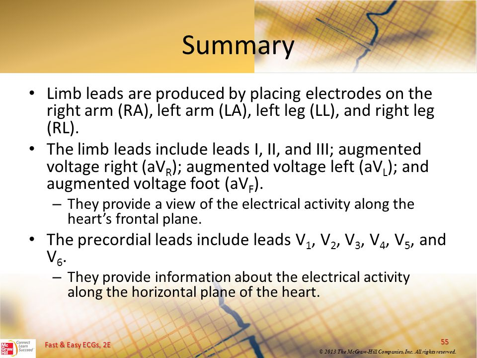 Summary Limb leads are produced by placing electrodes on the right arm (RA), left arm (LA), left leg (LL), and right leg (RL).
