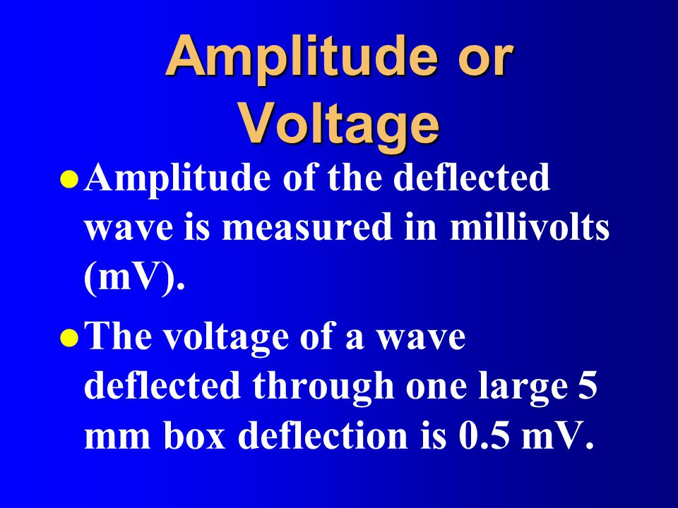 Amplitude or Voltage Amplitude of the deflected wave is measured in millivolts (mV).