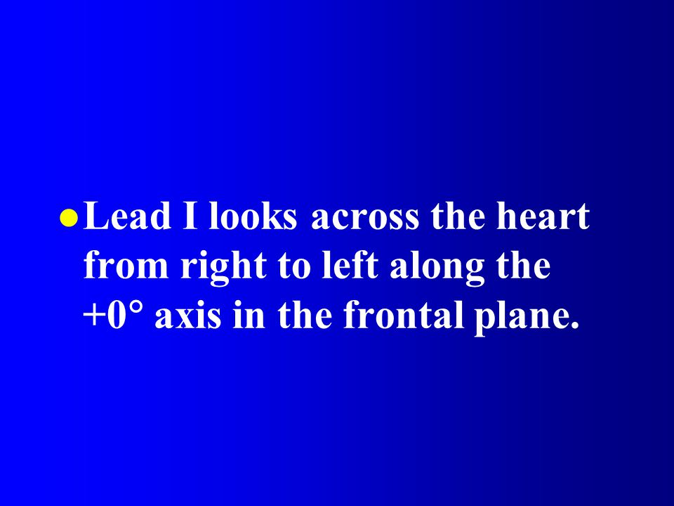 Lead I looks across the heart from right to left along the +0 axis in the frontal plane.