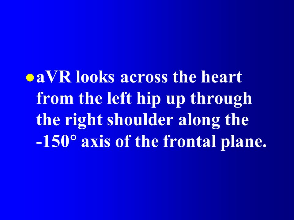 aVR looks across the heart from the left hip up through the right shoulder along the -150 axis of the frontal plane.