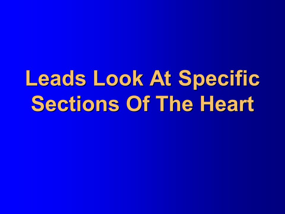 Leads Look At Specific Sections Of The Heart