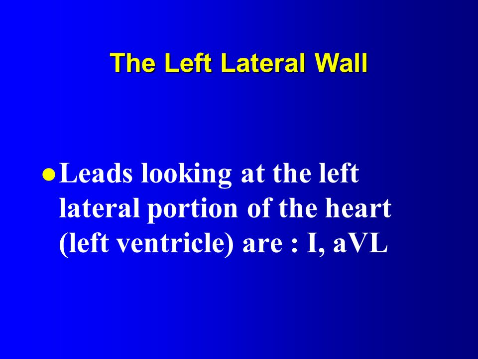 The Left Lateral Wall Leads looking at the left lateral portion of the heart (left ventricle) are : I, aVL.