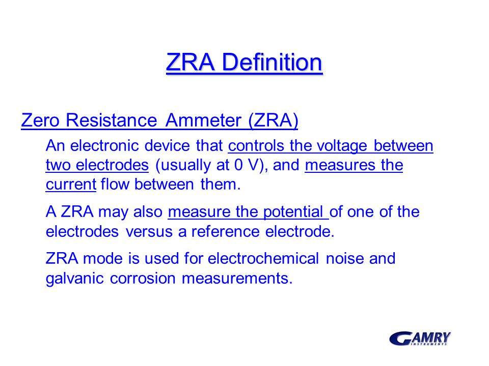 ZRA Definition Zero Resistance Ammeter (ZRA)
