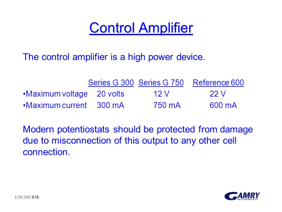 Control Amplifier The control amplifier is a high power device.