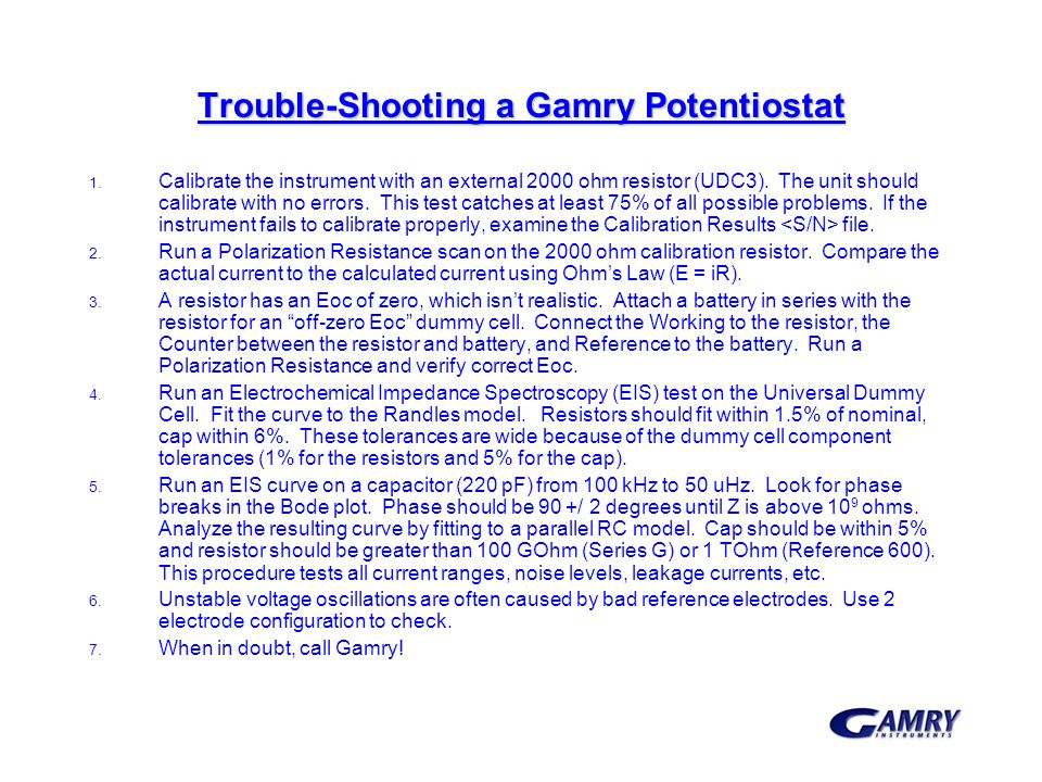 Trouble-Shooting a Gamry Potentiostat