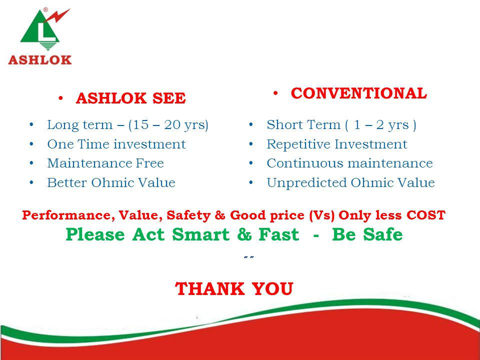 Please Act Smart & Fast - Be Safe THANK YOU ASHLOK SEE CONVENTIONAL