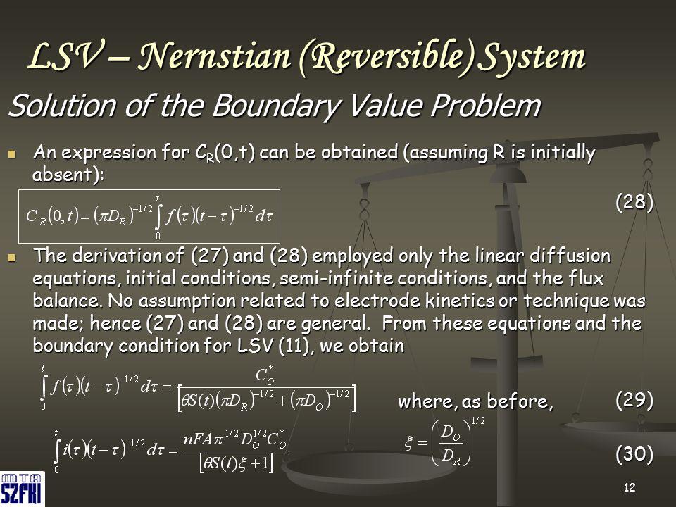 LSV – Nernstian (Reversible) System