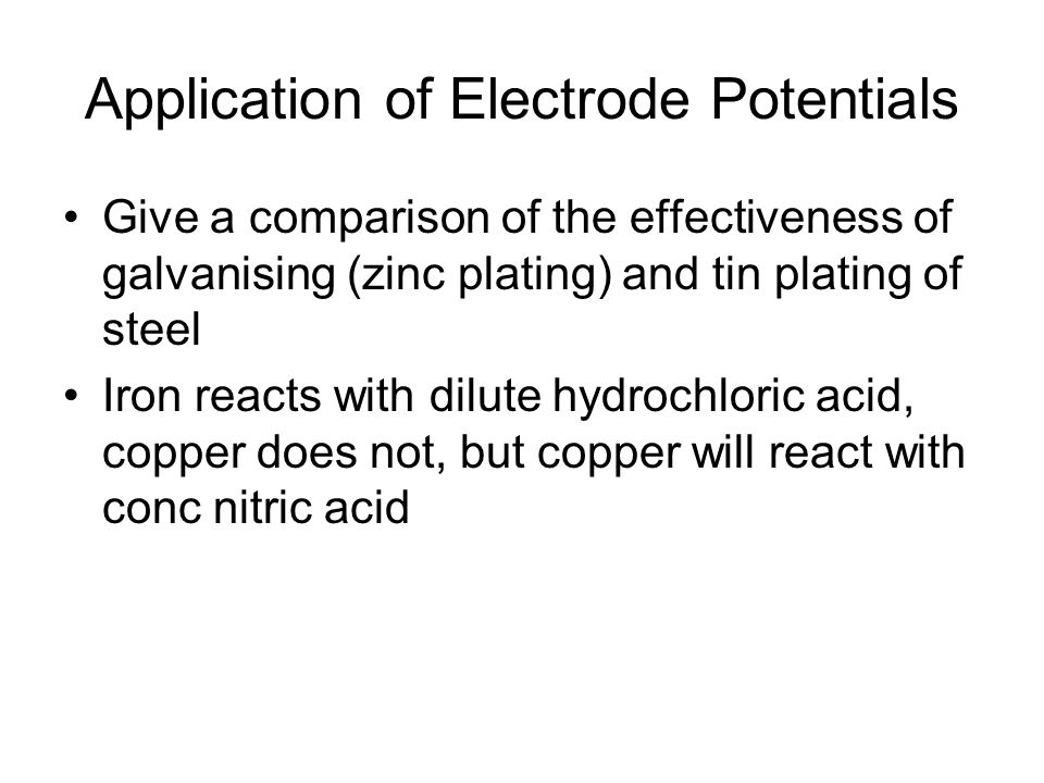 Application of Electrode Potentials